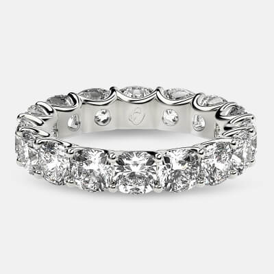 Eternity Ring with Arch Prong Set Cushion Diamonds in Platinum