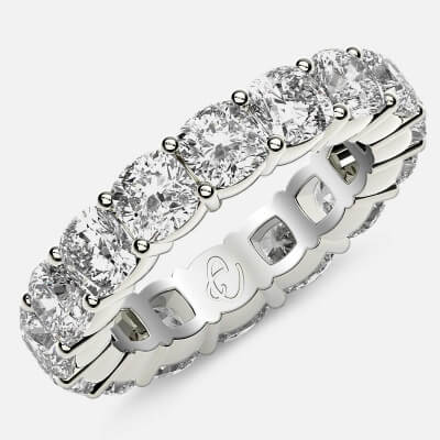 Eternity Ring with Prong Set Cushion Cut Diamonds in Platinum