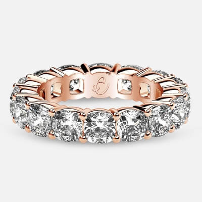Eternity Ring with Prong Set Cushion Cut Diamonds in 18k Rose Gold