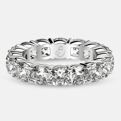 Eternity Ring with Prong Set Cushion Cut Diamonds in 18k White Gold