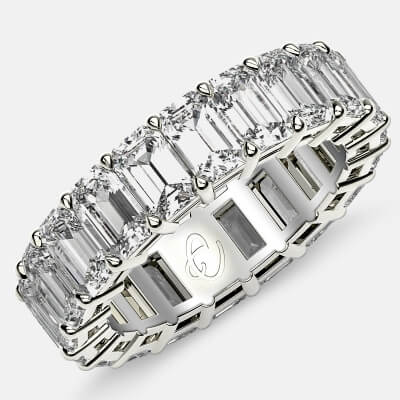 Eternity Ring with Prong Set Emerald Cut Diamonds in Platinum
