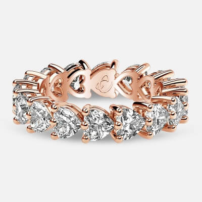 Eternity Ring with Prong Set Heart Shaped Diamonds in 18k Rose Gold