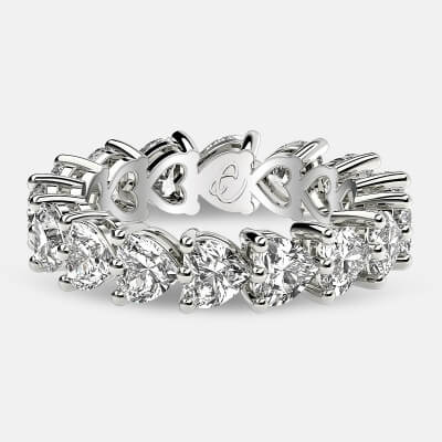 Eternity Ring with Prong Set Heart Shaped Diamonds in 18k White Gold