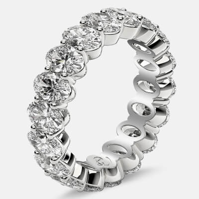 Prong Set Eternity Ring with Oval Diamonds in Platinum