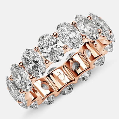 Curved Prong Eternity Ring with Oval Diamonds in 18k Rose Gold