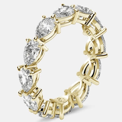 Classic Eternity Ring with Pear Shaped Diamonds in 18k Yellow Gold