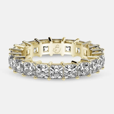 Eternity Ring with Prong Set Princess Cut Diamonds in 18k Yellow Gold