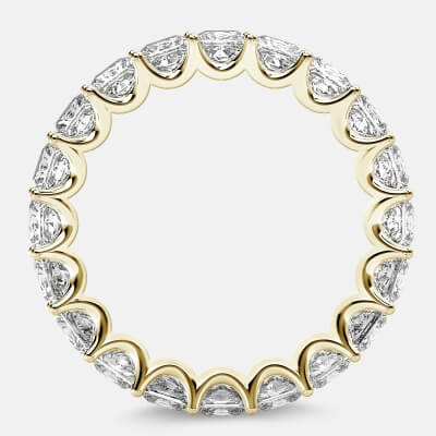 Eternity Ring with Arch Prong Set Princess Diamonds in 18k Yellow Gold