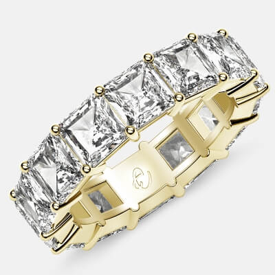 Eternity Ring with Prong Set Radiant Cut Diamonds in 18k Yellow Gold