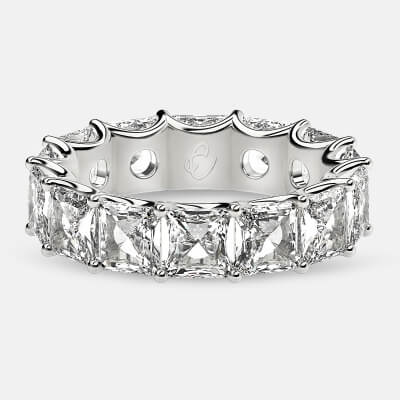 Curved Prong Eternity Ring with Radiant Diamonds in 18k White Gold