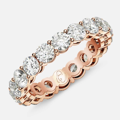 Open Gallery Eternity Ring with Round Diamonds in 18k Rose Gold