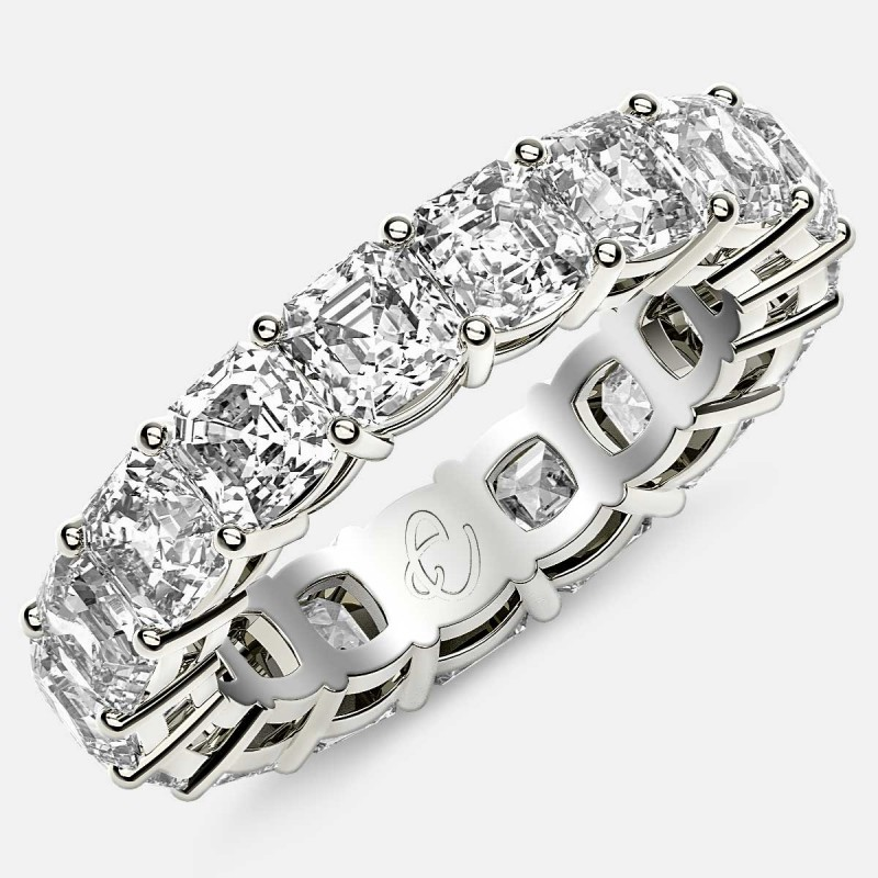 Eternity Ring with Prong Set Asscher Cut Diamonds in 18k White Gold