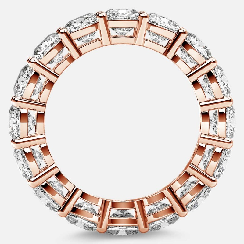 Open Gallery Eternity Ring with Cushion Cut Diamonds in 18k Rose Gold