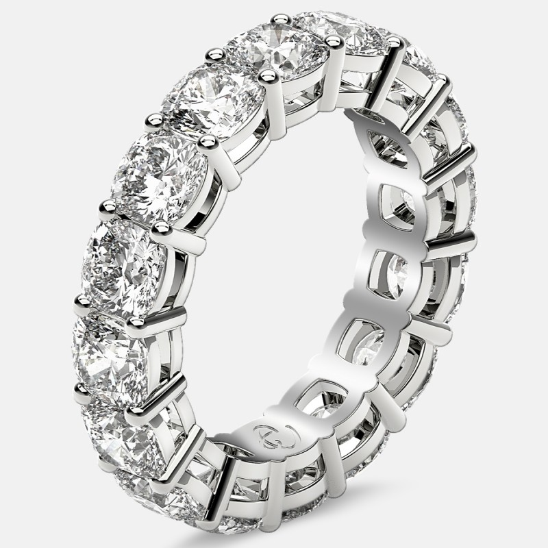Open Gallery Eternity Ring with Cushion Cut Diamonds in 18k White Gold