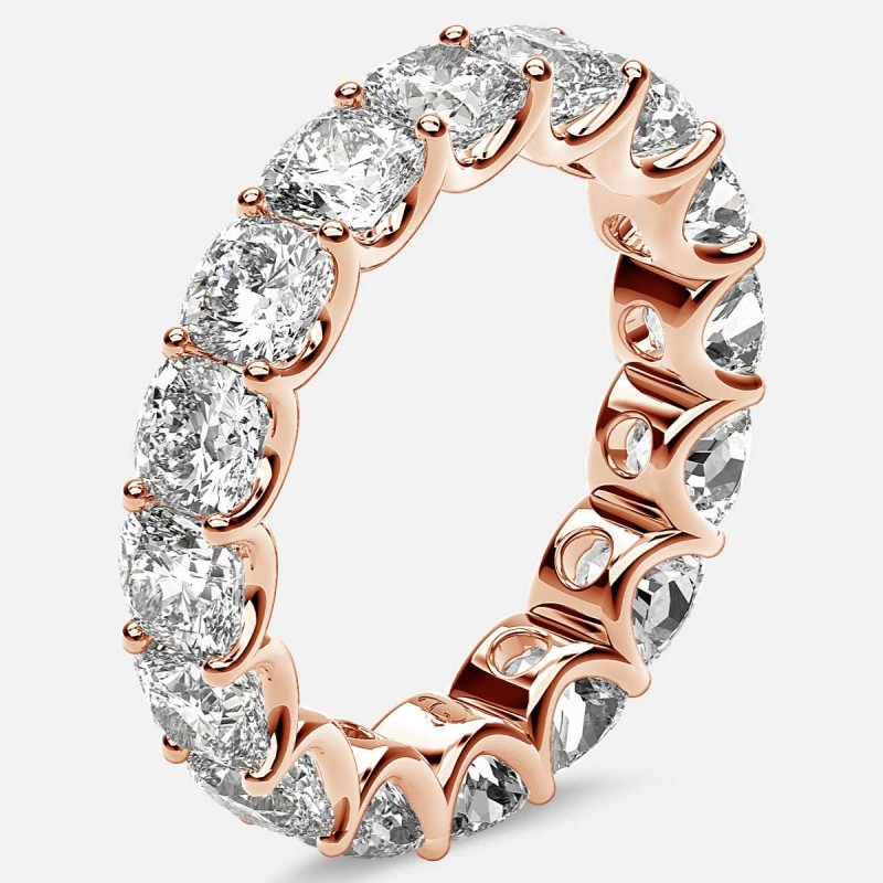 Eternity Ring with Arch Prong Set Cushion Diamonds in 18k Rose Gold