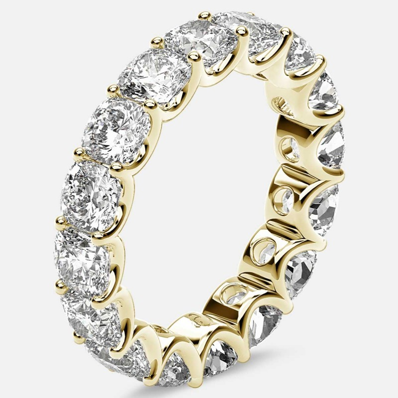 Eternity Ring with Arch Prong Set Cushion Diamonds in 18k Yellow Gold