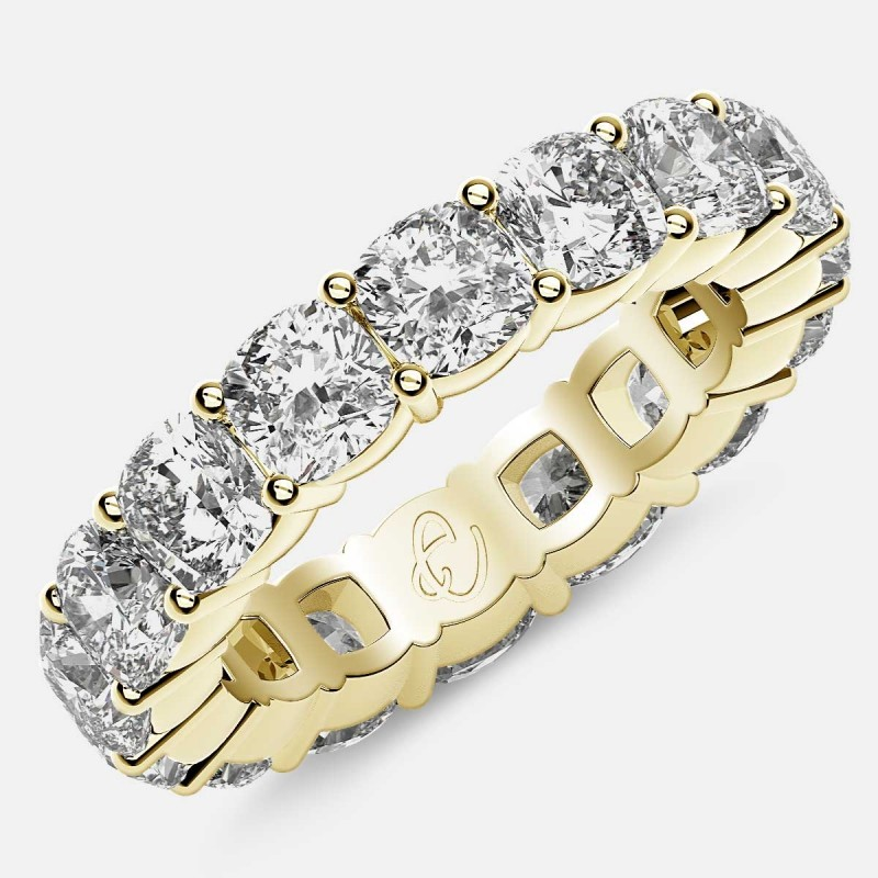 Eternity Ring with Prong Set Cushion Cut Diamonds in 18k Yellow Gold