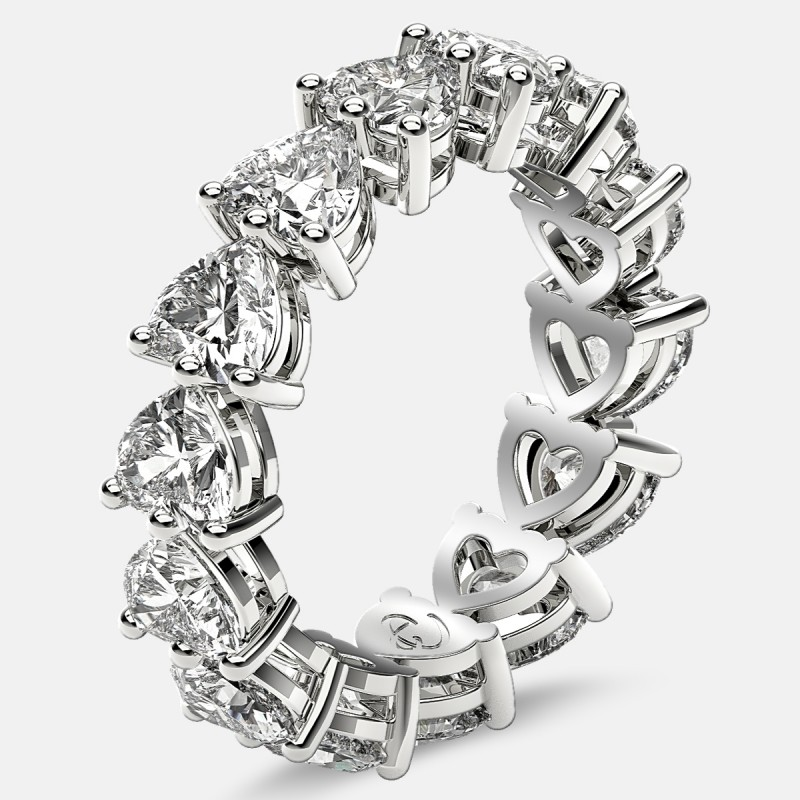 Eternity Ring with Prong Set Heart Shaped Diamonds in Platinum
