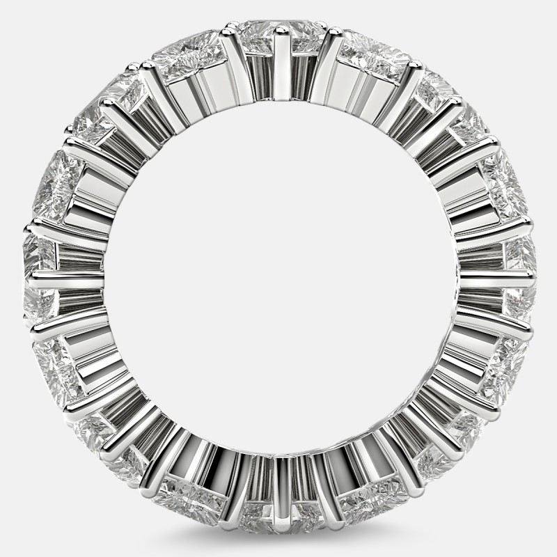 Prong Set Eternity Ring with Heart Shaped Diamonds in Platinum