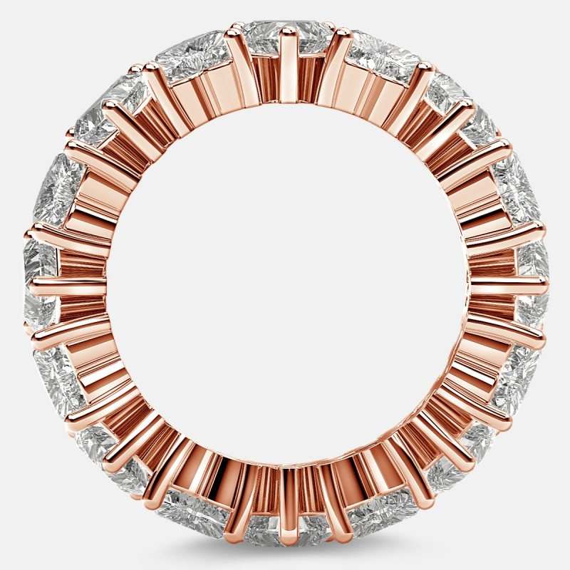 Prong Set Eternity Ring with Heart Shaped Diamonds in 18k Rose Gold