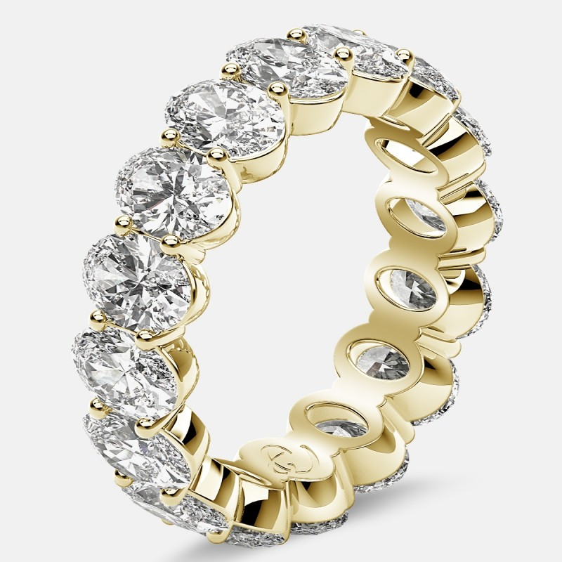 Prong Set Eternity Ring with Oval Diamonds in 18k Yellow Gold