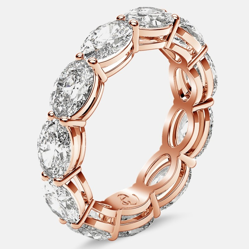 Open Gallery Eternity Ring with Oval Diamonds in 18k Rose Gold