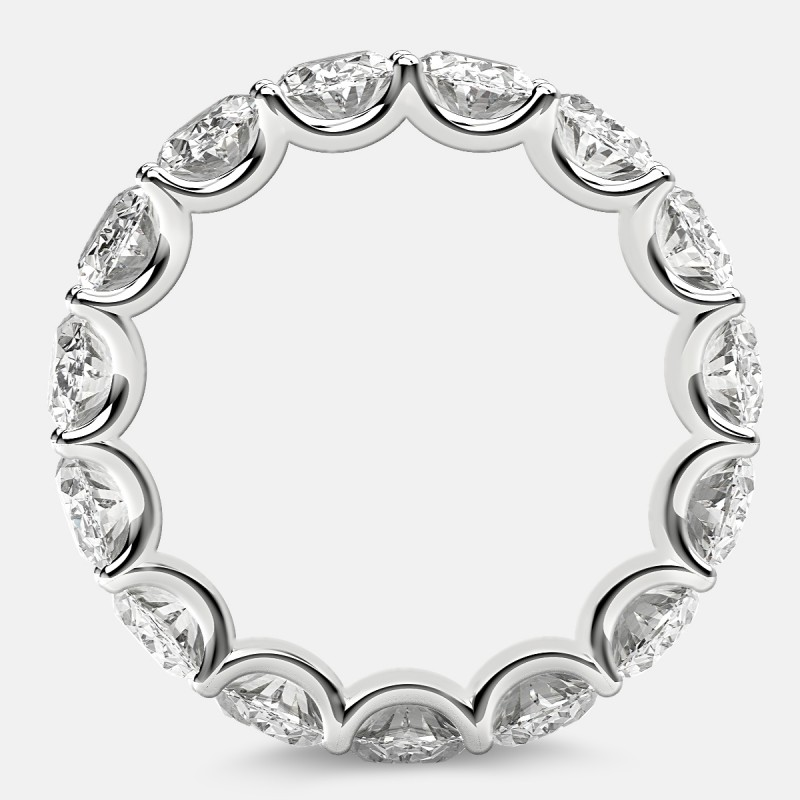Curved Prong Eternity Ring with Oval Diamonds in Platinum