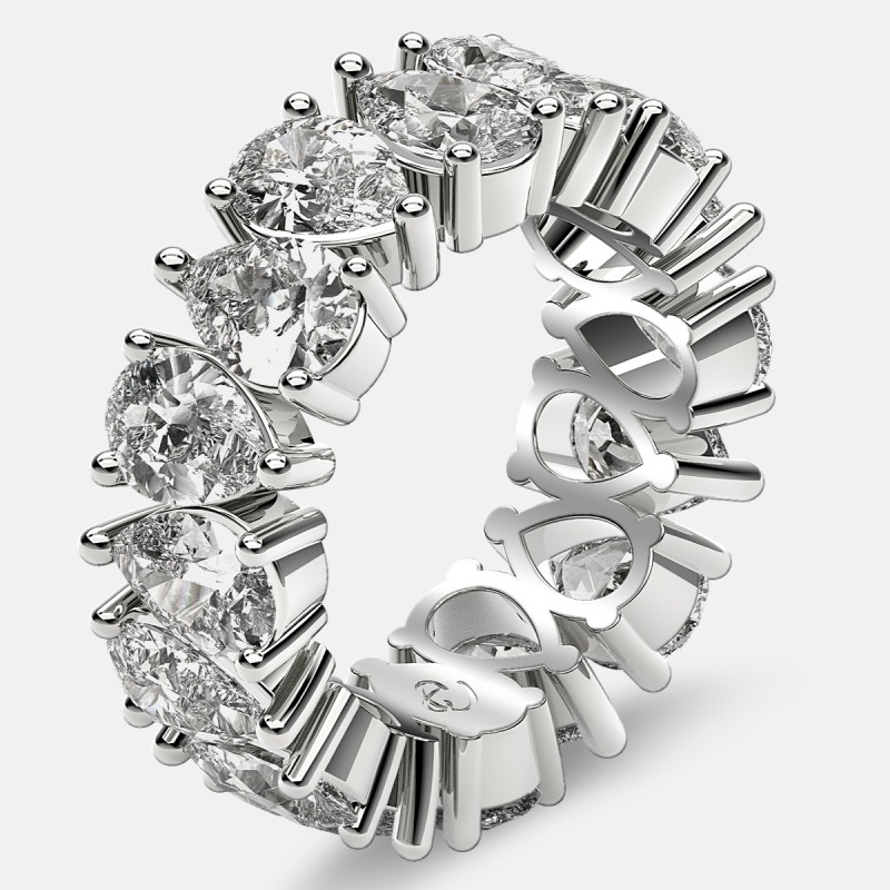 Prong Set Eternity Ring with Pear Shaped Diamonds in Platinum