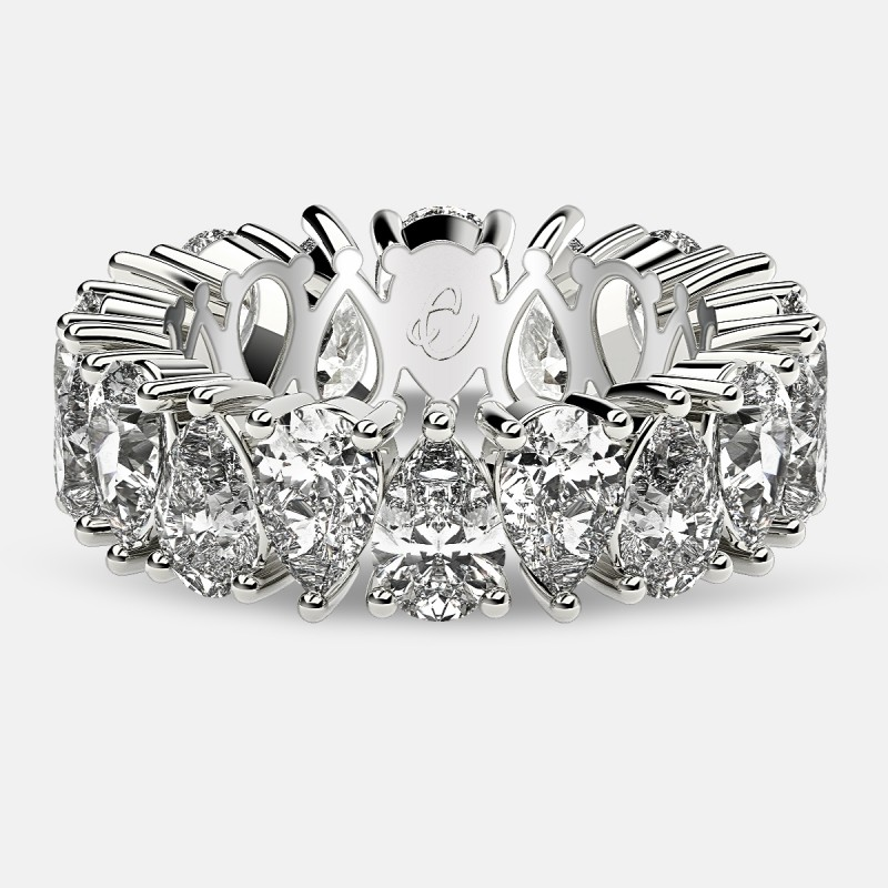 Prong Set Eternity Ring with Pear Shaped Diamonds in 18k White Gold