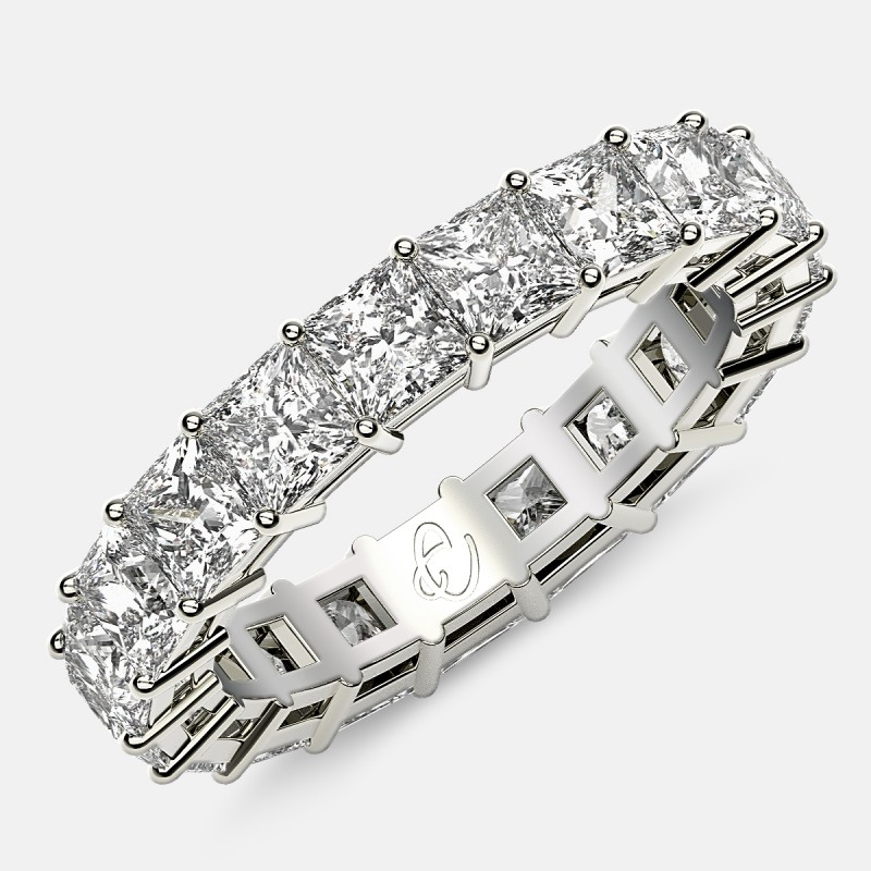 Eternity Ring with Prong Set Princess Cut Diamonds in Platinum