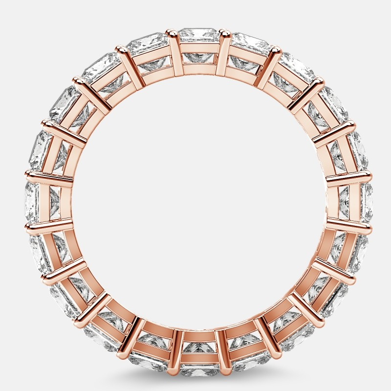 Eternity Ring with Prong Set Princess Cut Diamonds in 18k Rose Gold