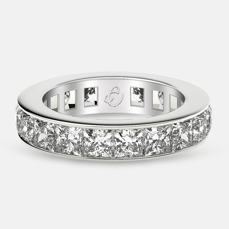 Eternity Ring with Channel Set Princess Cut Diamonds in Platinum