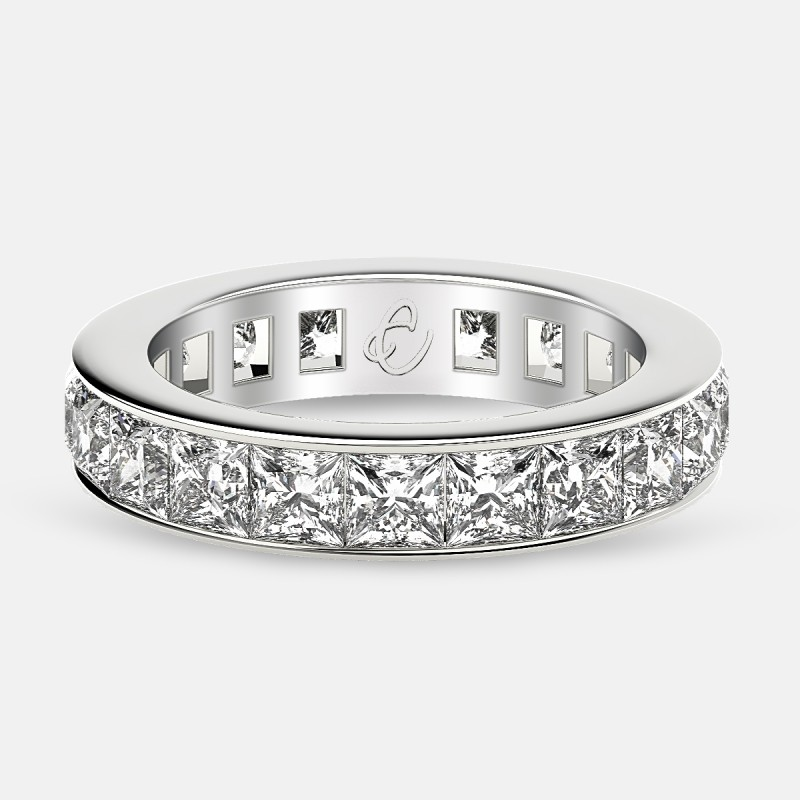 Eternity Ring with Channel Set Princess Cut Diamonds in 18k White Gold