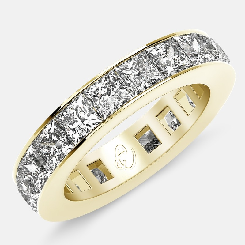 Eternity Ring with Channel Set Princess Cut Diamonds in 18k Yellow Gold