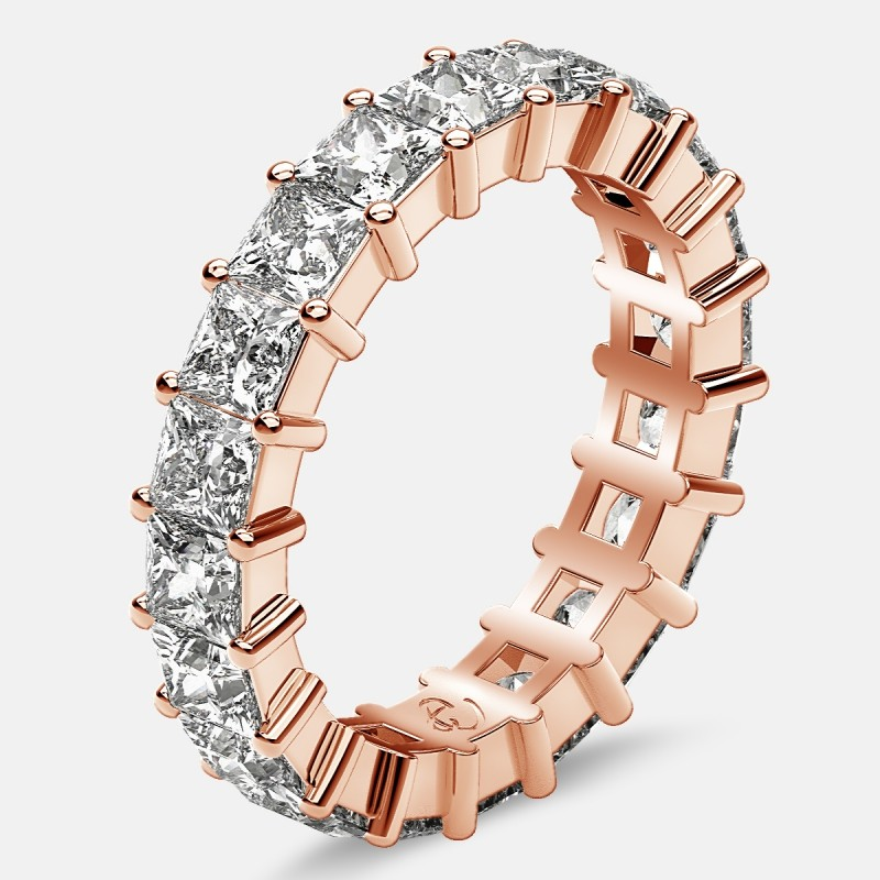Classic Eternity Ring with Princess Cut Diamonds in 18k Rose Gold