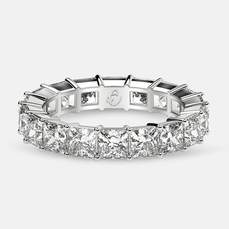 Classic Eternity Ring with Princess Cut Diamonds in 18k White Gold