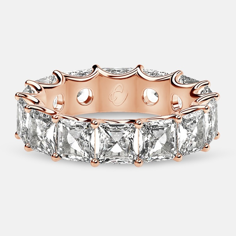 Curved Prong Eternity Ring with Radiant Diamonds in 18k Rose Gold