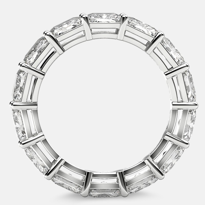 Open Gallery Eternity Ring with Radiant Diamonds in 18k White Gold