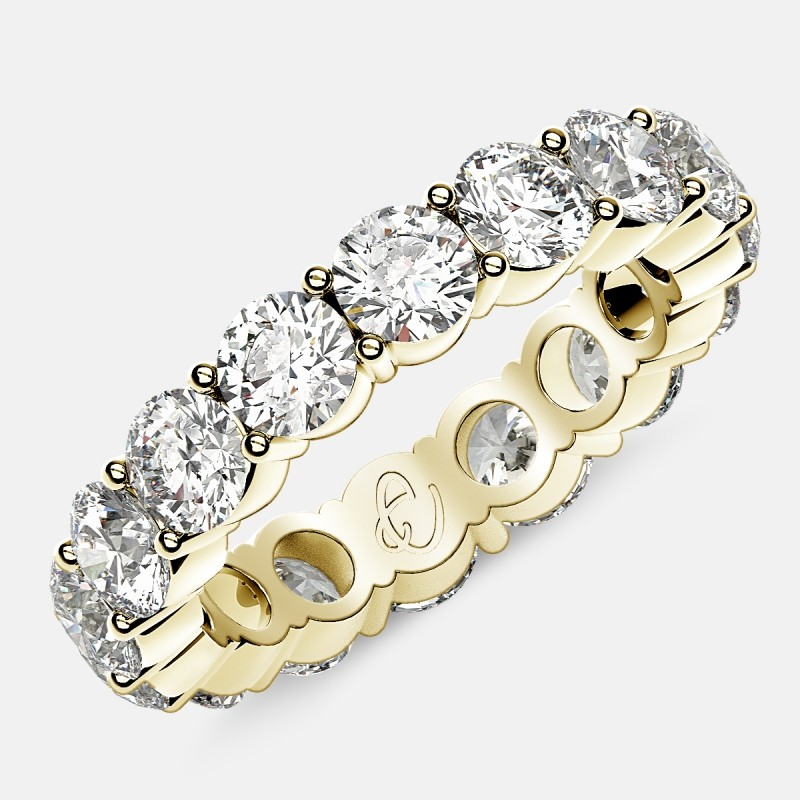 Eternity Ring with Prong Set Round Diamonds in 18k Yellow Gold