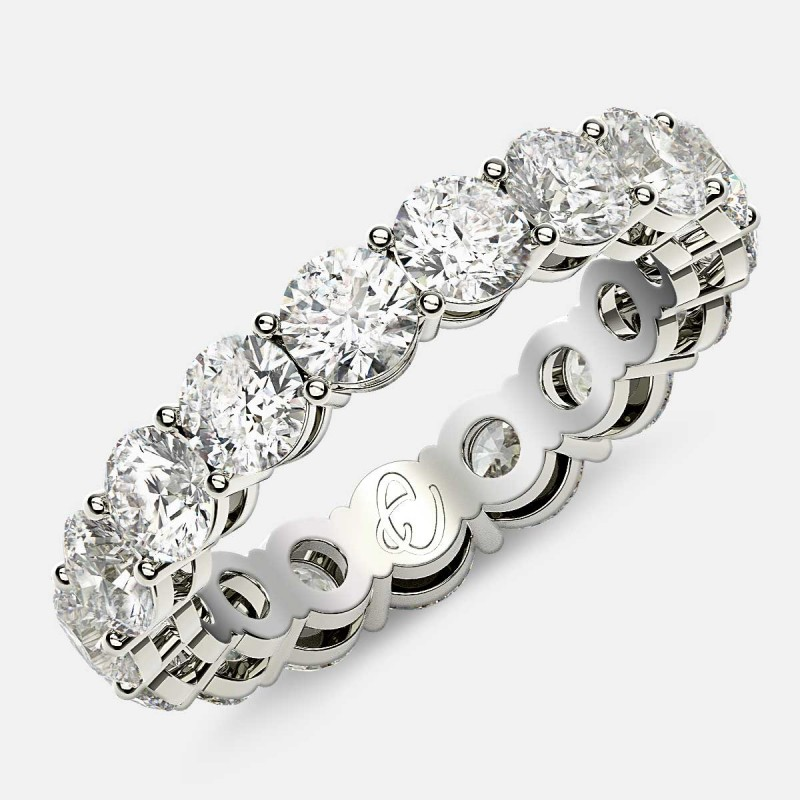 Open Gallery Eternity Ring with Round Diamonds in Platinum