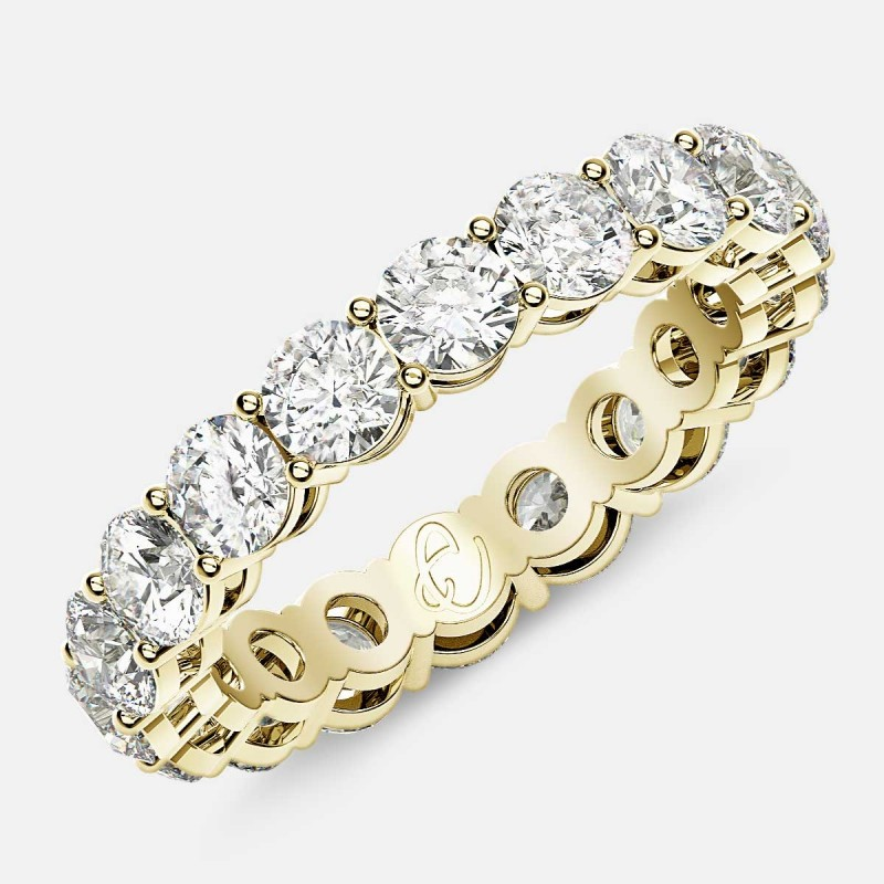 Open Gallery Eternity Ring with Round Diamonds in 18k Yellow Gold