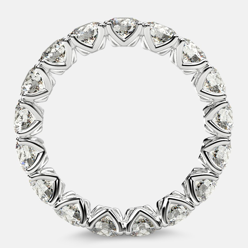 Curved V-Prong Eternity Ring with Round Diamonds in Platinum