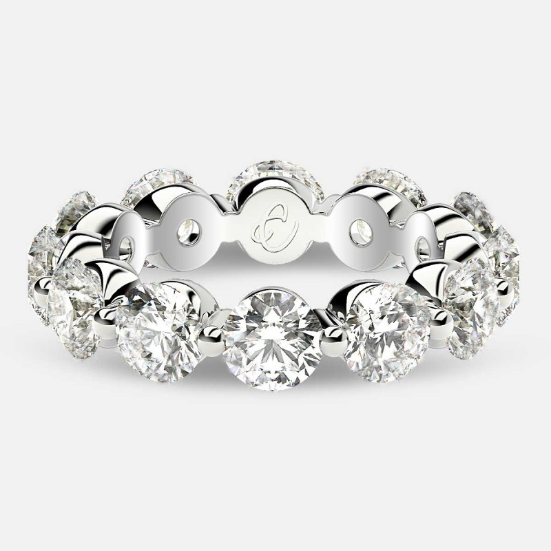 Floating Eternity Ring with Round Diamonds in 18k White Gold