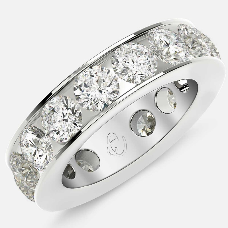 Channel Set Eternity Ring with Round Diamonds in 18k White Gold