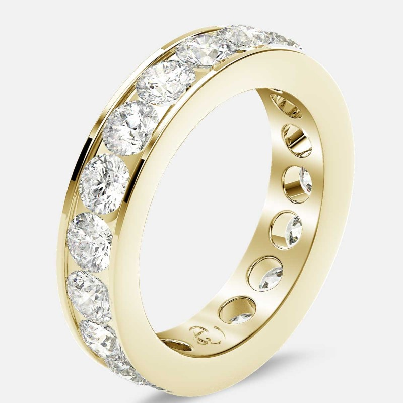 Channel Set Eternity Ring with Round Diamonds in 18k Yellow Gold