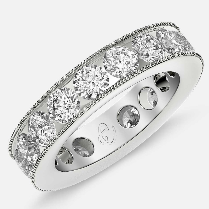 Channel Set Beaded Eternity Ring with Round Diamonds in Platinum
