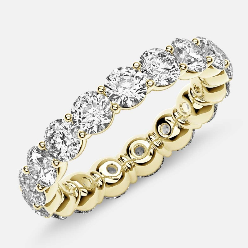 Classic Prong Set Eternity Ring with Round Diamonds in 18k Yellow Gold