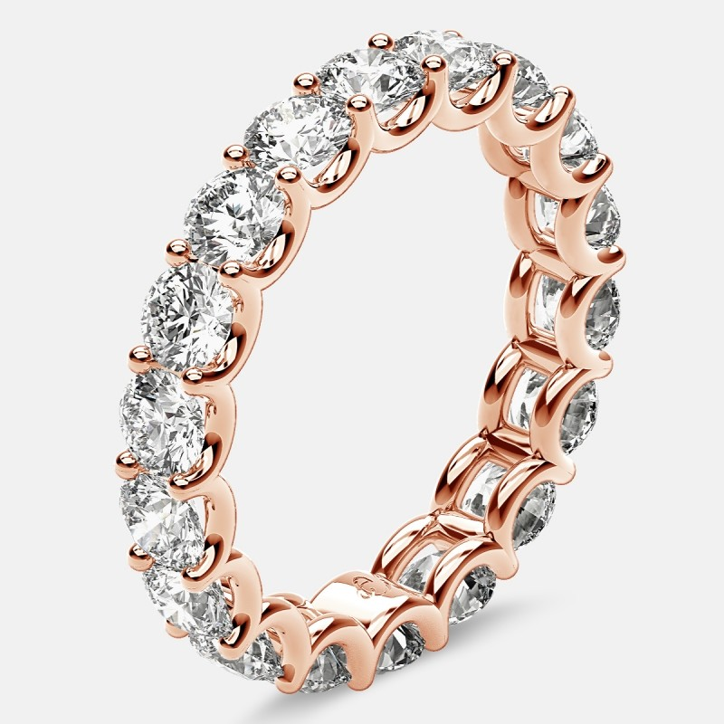 Eternity Ring with Arch Prong Set Round Diamonds in 18k Rose Gold