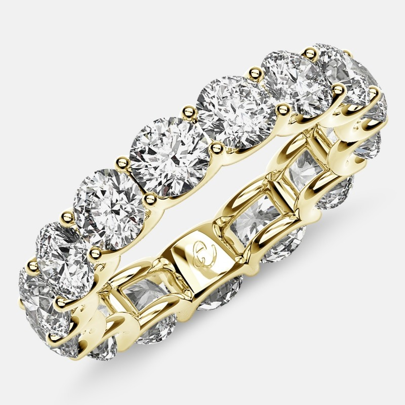 Eternity Ring with Arch Prong Set Round Diamonds in 18k Yellow Gold