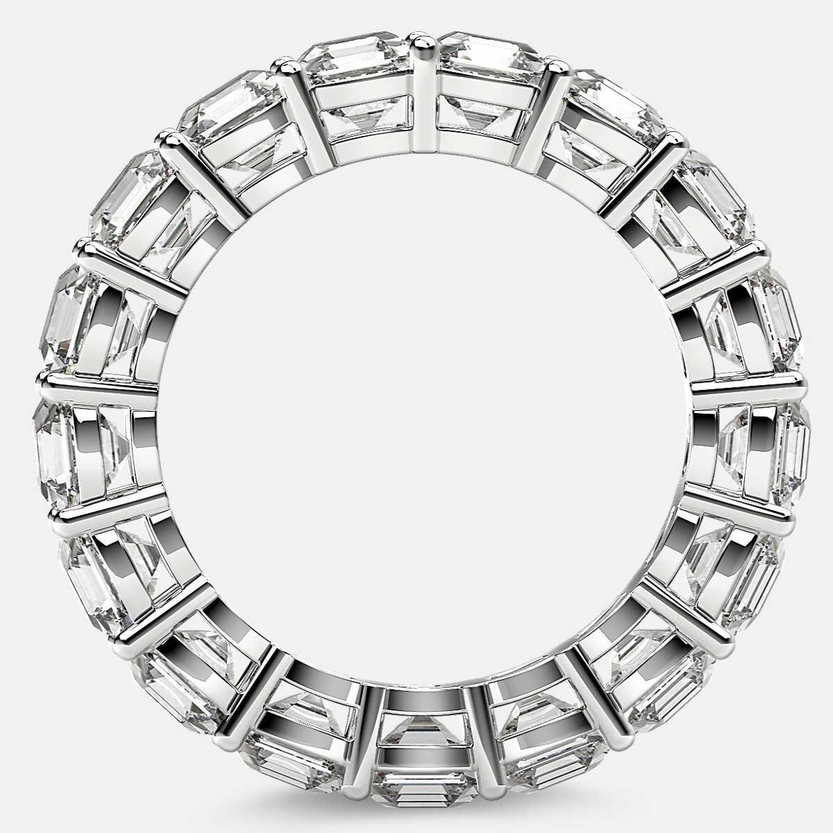 Eternity Ring with Prong Set Asscher Cut Diamonds in Platinum